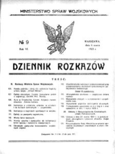 Dziennik Rozkazów, 1923, R. 6, nr 9