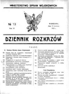 Dziennik Rozkazów, 1923, R. 6, nr 13