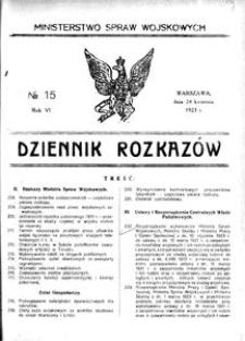 Dziennik Rozkazów, 1923, R. 6, nr 15