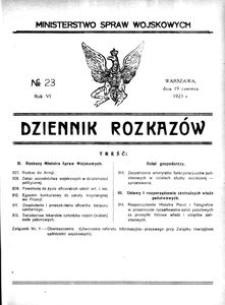 Dziennik Rozkazów, 1923, R. 6, nr 23