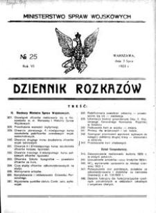Dziennik Rozkazów, 1923, R. 6, nr 25