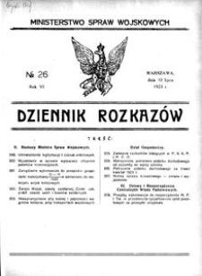 Dziennik Rozkazów, 1923, R. 6, nr 26