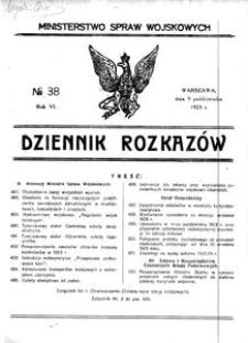 Dziennik Rozkazów, 1923, R. 6, nr 38
