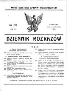 Dziennik Rozkazów, 1923, R. 6, nr 39