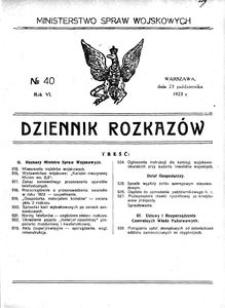 Dziennik Rozkazów, 1923, R. 6, nr 40