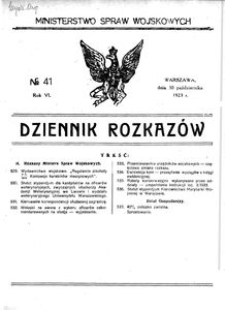 Dziennik Rozkazów, 1923, R. 6, nr 41