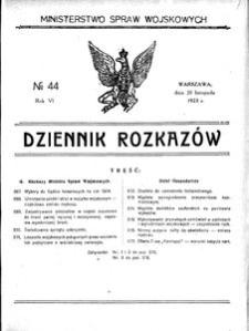 Dziennik Rozkazów, 1923, R. 6, nr 44