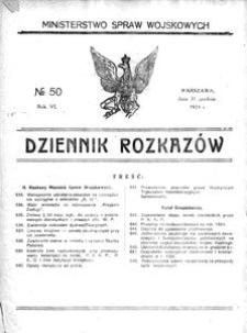 Dziennik Rozkazów, 1923, R. 6, nr 50