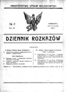 Dziennik Rozkazów, 1924, R. 7, nr 2