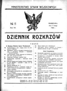 Dziennik Rozkazów, 1924, R. 7, nr 5