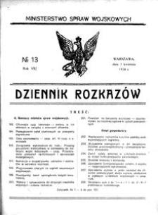 Dziennik Rozkazów, 1924, R. 7, nr 13