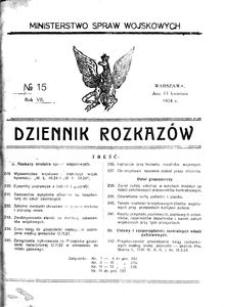 Dziennik Rozkazów, 1924, R. 7, nr 15