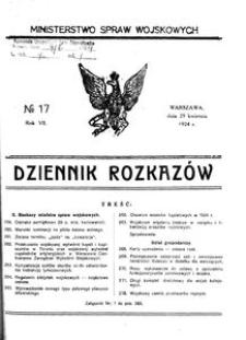 Dziennik Rozkazów, 1924, R. 7, nr 17