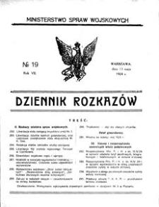 Dziennik Rozkazów, 1924, R. 7, nr 19