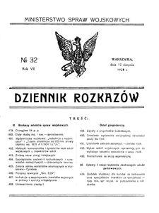 Dziennik Rozkazów, 1924, R. 7, nr 32