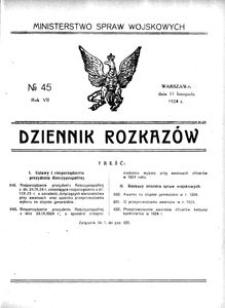 Dziennik Rozkazów, 1924, R. 7, nr 45