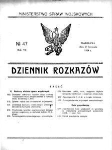 Dziennik Rozkazów, 1924, R. 7, nr 47