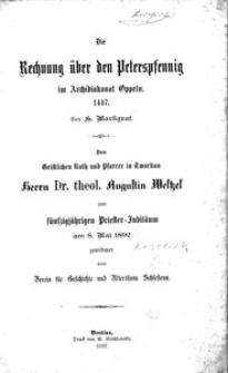 Die Rechnung über den Peterpfennig im Archidiakon Oppeln, 1447