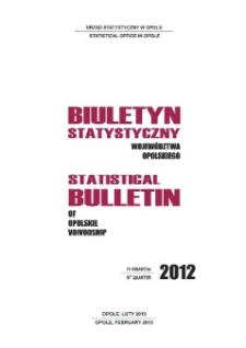 Biuletyn Statystyczny Województwa Opolskiego = Statistical Bulletin of Opolskie Voivodship 2012, IV kwartał.