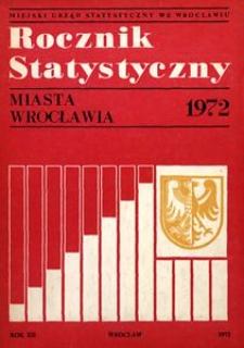 Rocznik Statystyczny miasta Wrocławia, 1972, R. 12
