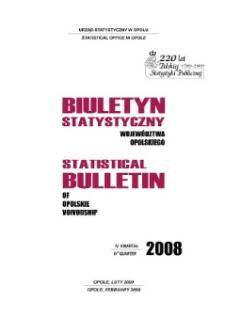 Biuletyn Statystyczny Województwa Opolskiego = Statistical Bulletin of Opolskie Voivodship 2008, IV kwartał.