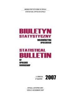 Biuletyn Statystyczny Województwa Opolskiego = Statistical Bulletin of Opolskie Voivodship 2007, III kwartał.