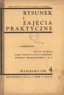 Rysunek i Zajęcia Praktyczne : Organ Komisji Zajęć Praktycznych i Rysunku Wydziału Pedagogicznego Z.N.P., 1935, R.10(3), nr 4 - grudzień