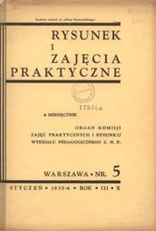 Rysunek i Zajęcia Praktyczne : Organ Komisji Zajęć Praktycznych i Rysunku Wydziału Pedagogicznego Z.N.P., 1936, R.10(3), nr 5 - styczeń
