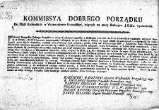 Kommissya Dobrego Porządku Do miast krolewskich w Woiewodztwie Poznańskim leżących na mocy reskryptu J.K.Mci wyznaczona