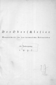 Der Oberschlesier, 1937, Jg. 19, Inhaltsverzeichnis
