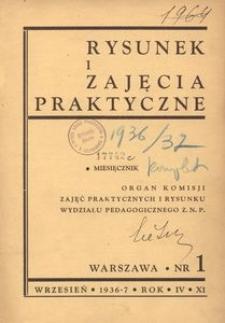 Rysunek i Zajęcia Praktyczne : Organ Komisji Zajęć Praktycznych i Rysunku Wydziału Pedagogicznego Z.N.P., 1936, R.11(4), nr 1 - wrzesień
