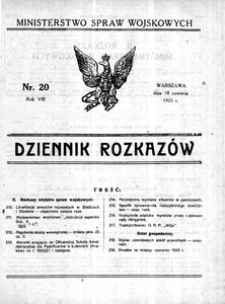 Dziennik Rozkazów, 1925, R. 8, nr 20