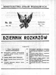 Dziennik Rozkazów, 1925, R. 8, nr 23