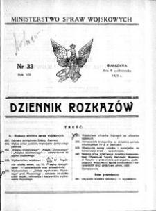 Dziennik Rozkazów, 1925, R. 8, nr 33