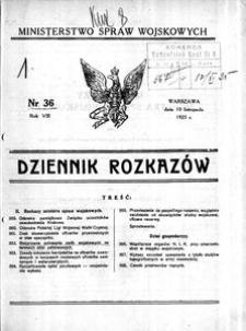Dziennik Rozkazów, 1925, R. 8, nr 36