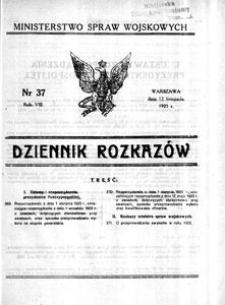 Dziennik Rozkazów, 1925, R. 8, nr 37