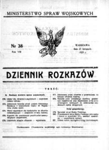 Dziennik Rozkazów, 1925, R. 8, nr 38