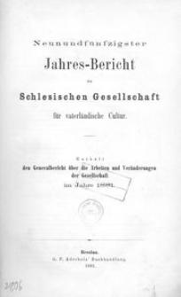 Jahres-Bericht der Schlesischen Gesellschaft für vaterlandische Cultur. Enthält den Generalbericht über die Arbeiten und Veränderungen der Gesselschaft im Jahre 1881
