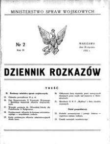 Dziennik Rozkazów, 1926, R. 9, nr 2