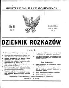 Dziennik Rozkazów, 1926, R. 9, nr 8