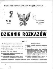 Dziennik Rozkazów, 1926, R. 9, nr 16