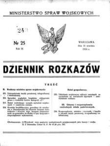 Dziennik Rozkazów, 1926, R. 9, nr 25
