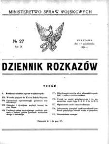 Dziennik Rozkazów, 1926, R. 9, nr 27