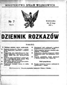 Dziennik Rozkazów, 1927, R. 10, nr 7