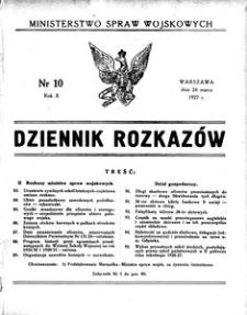 Dziennik Rozkazów, 1927, R. 10, nr 10