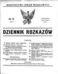 Dziennik Rozkazów, 1927, R. 10, nr 11