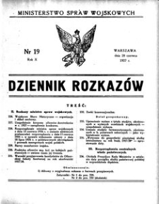 Dziennik Rozkazów, 1927, R. 10, nr 19