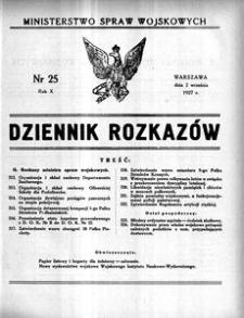 Dziennik Rozkazów, 1927, R. 10, nr 25