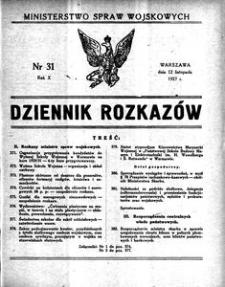 Dziennik Rozkazów, 1927, R. 10, nr 31