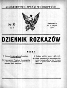 Dziennik Rozkazów, 1927, R. 10, nr 33
